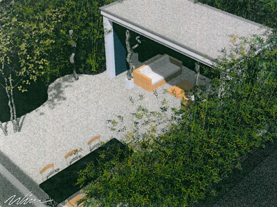 Hout Beton Schutting Moderne Tuinen Met Grind