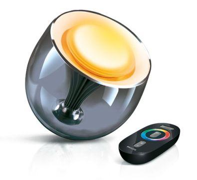 Met de kleurencirkel op de afstandbediening kies je eenvoudig de kleur ...